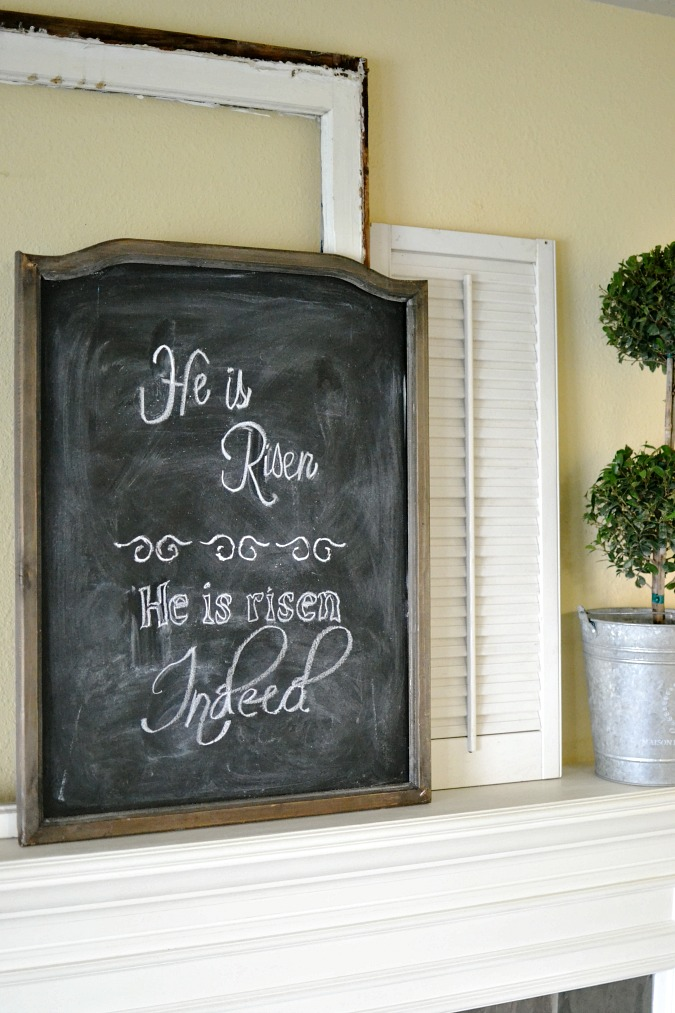 Chalkboard Easter verse on mantel