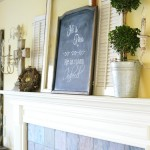 Easter mantel with chalkboard art and shutters