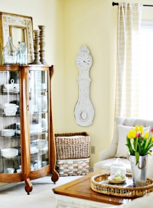 French country style wall clock in living room atthepicketfence.com
