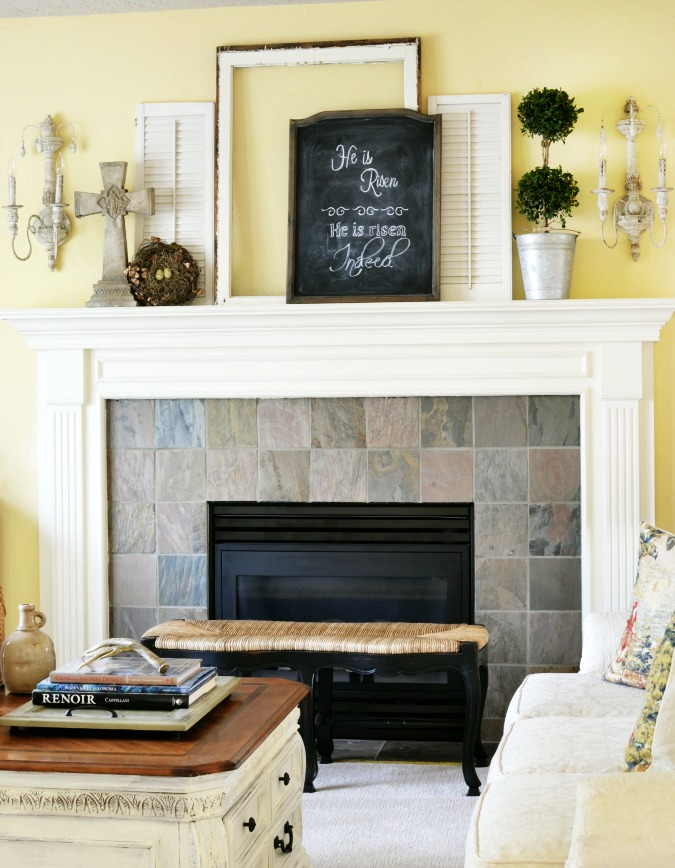 Simple layered spring mantel with chalkboard art
