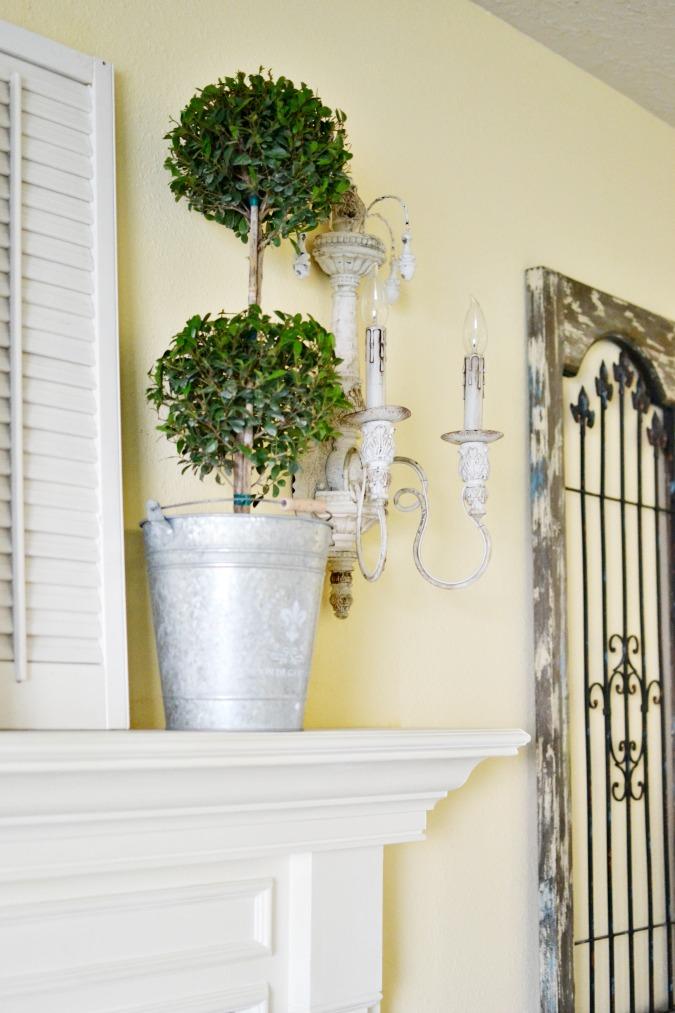 Topiary in galvanized bucket as mantel decor