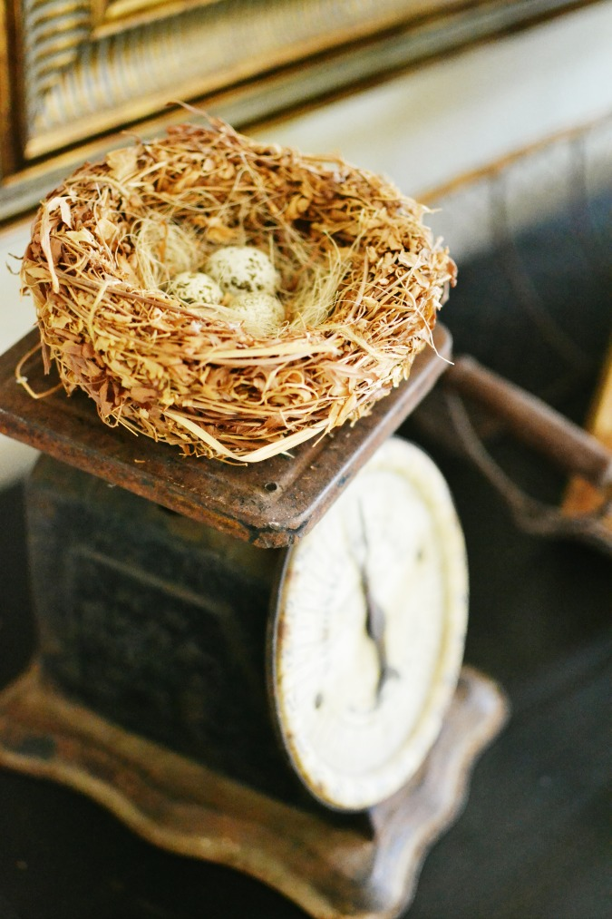 A birds nest on a vintage scale makes for easy spring decor