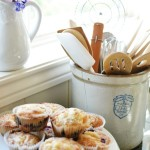 blueberry muffins in a spring vignette