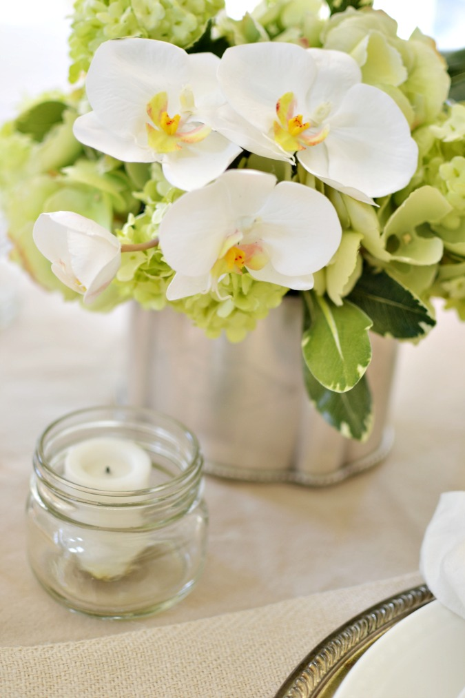 Balsam Hill orchid and snowball arrangement