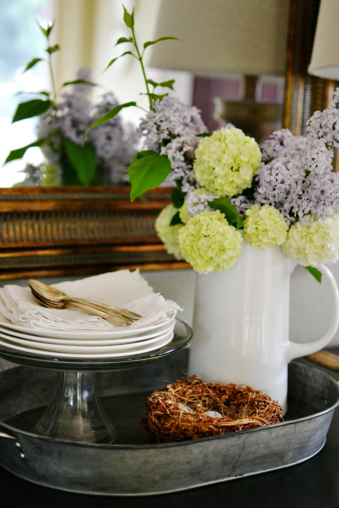 Simple spring tabletop decor