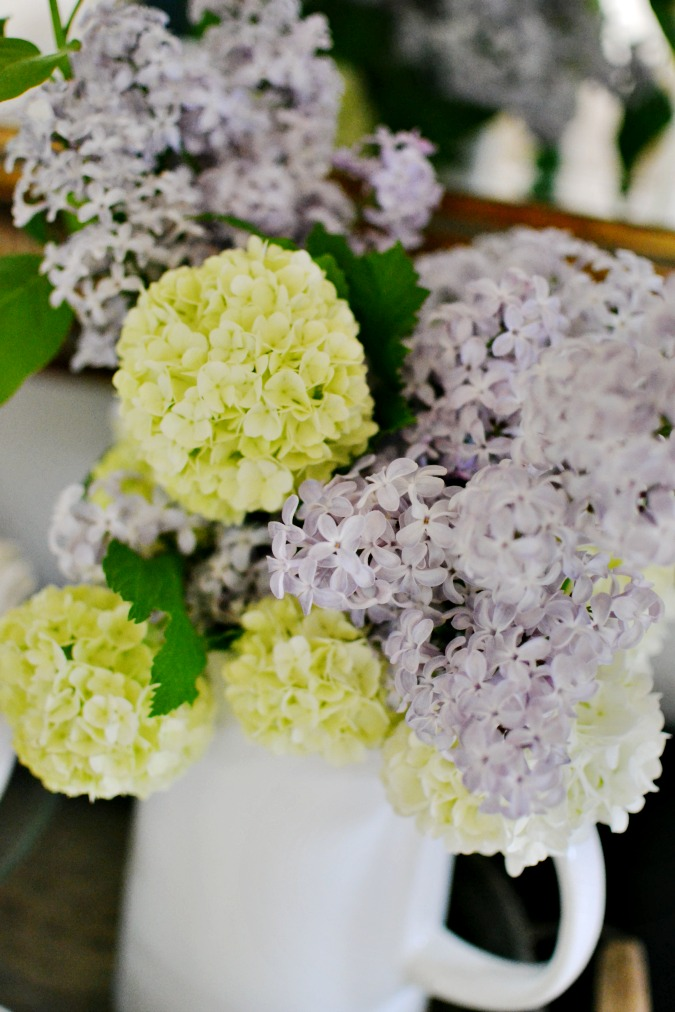 Spring bouquet with lilacs and snowball blossoms