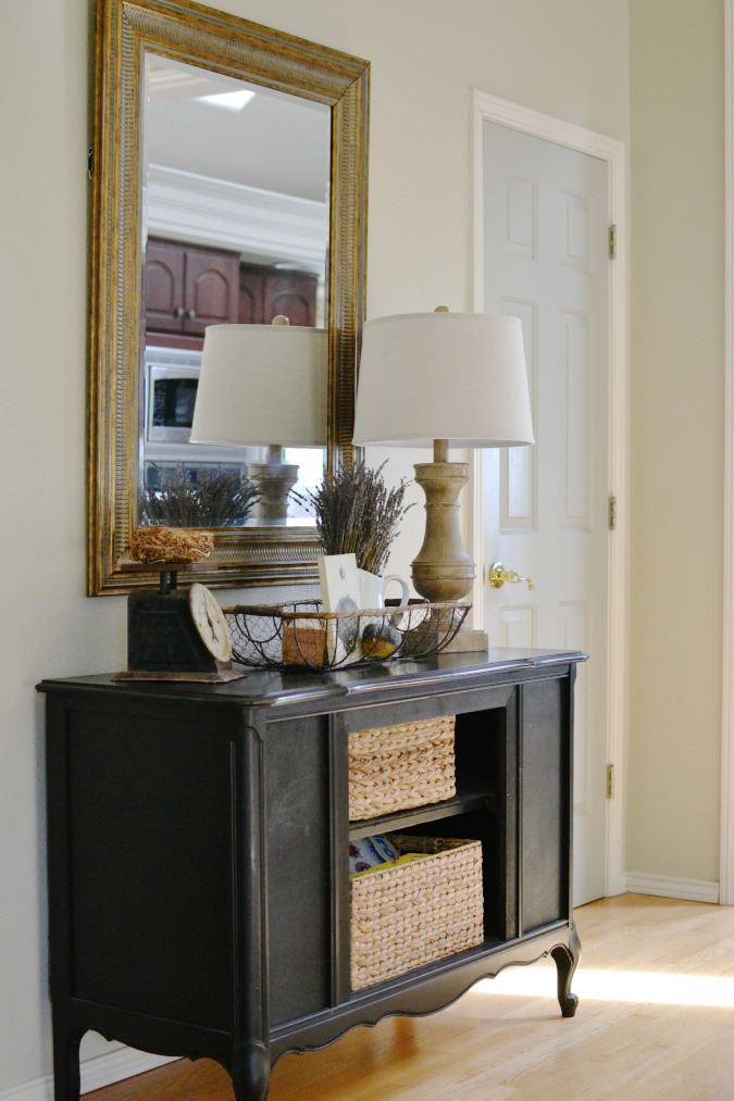 black farmhouse style buffet table