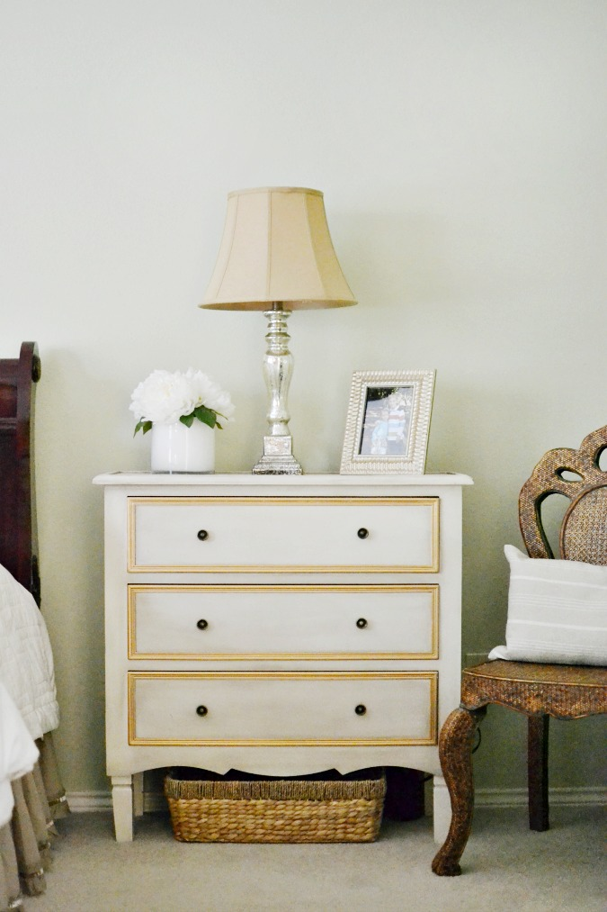 French country style nightstand in bedroom