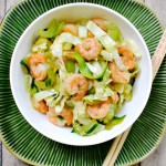 Zucchini noodle chow mein with shrimp