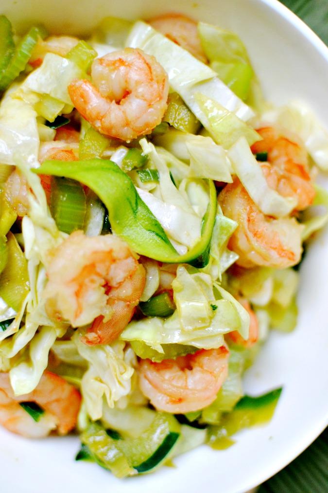 Zucchini noodle chow shrimp chow mein