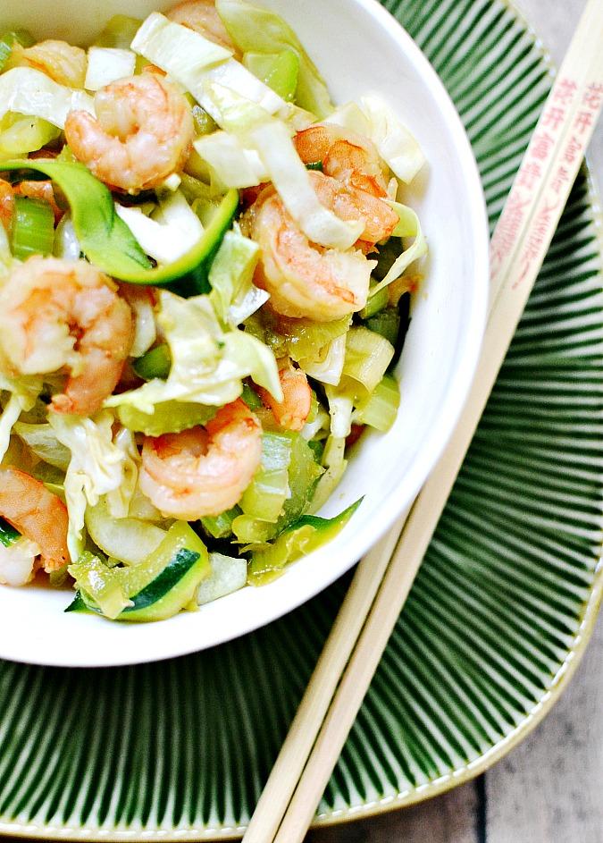 shrimp zucchini noodle chow mein