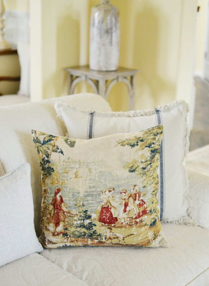 Bosporus toile and ticking stripe pillows atthepicketfence.com
