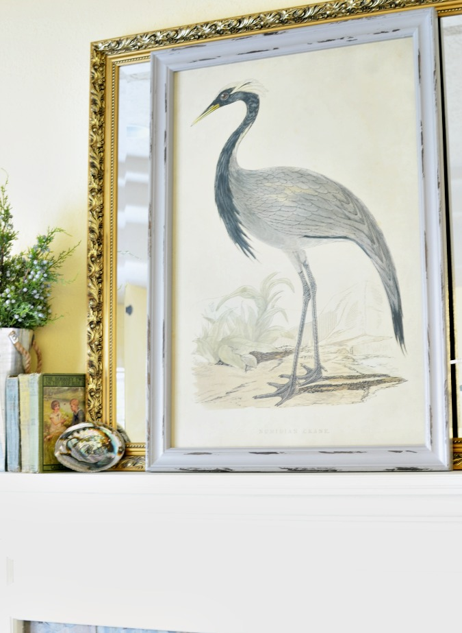 Crane painting on a summer mantel