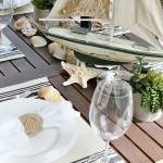 Nautical themed summer outdoor tablescape