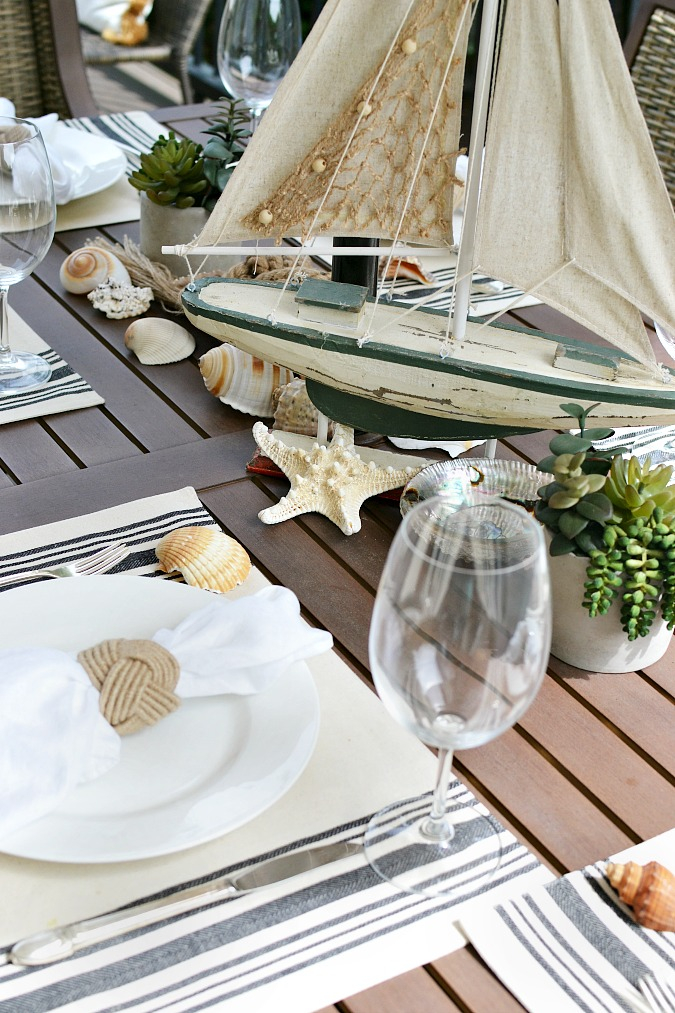 Nautical Outdoor Table Setting - At The Picket Fence on Nautical Patio Ideas id=54987
