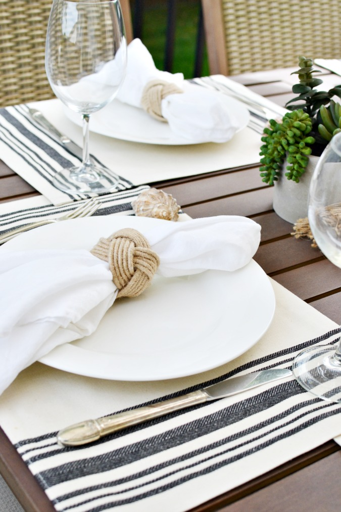Simple nautical summer table setting