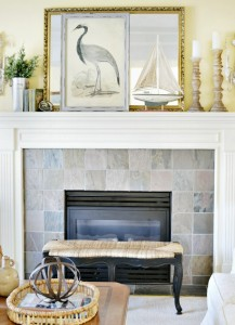 coastal inspired summer mantel atthepicketfence.com