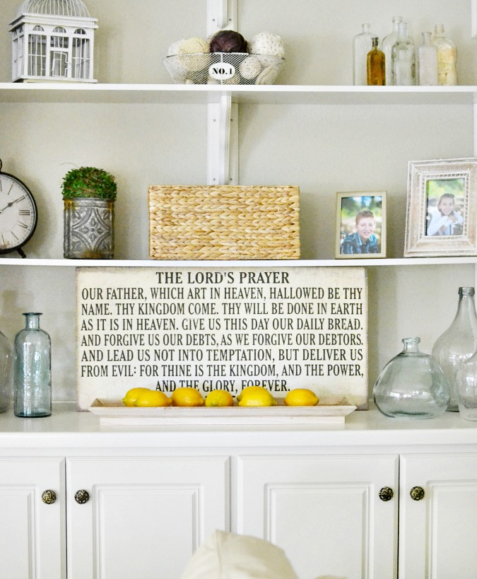 farmhouse style shelf decor