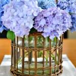 hydrangeas in wicker vase holder