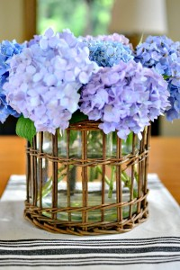 hydrangeas in wicker vase holder