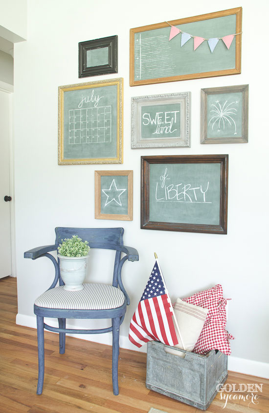 vintage-eclectic-patriotic-chalkboard-gallery-wall
