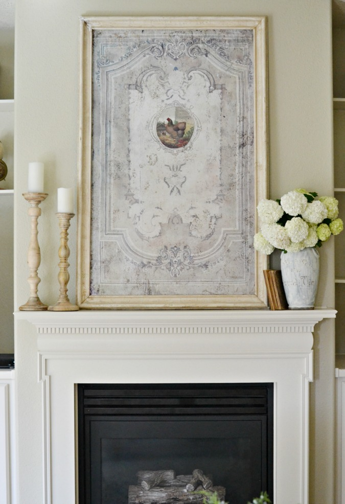 French Country mantel decor with rooster print