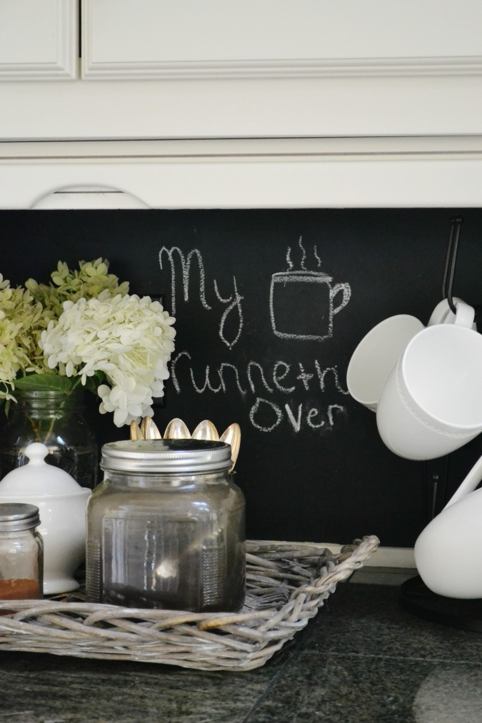 Chalkboard wall for coffee station