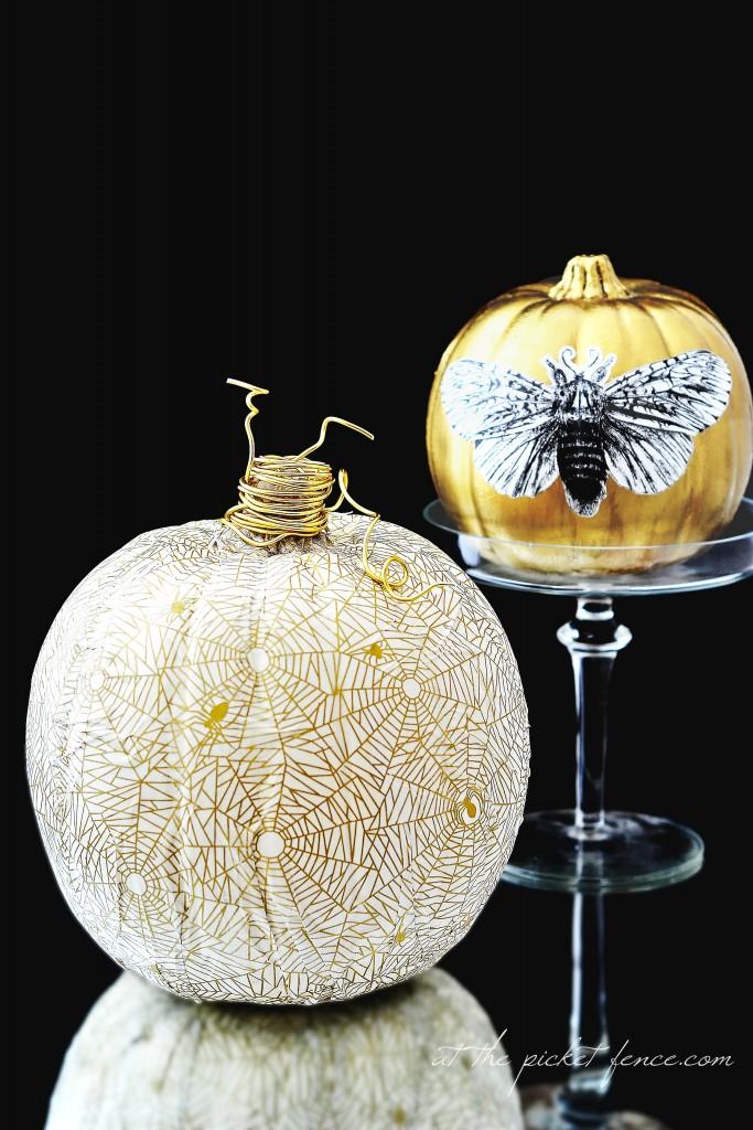 tissue paper decoupage pumpkins
