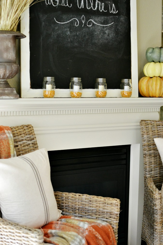 Fall fireplace decorations atthepicketfence.com