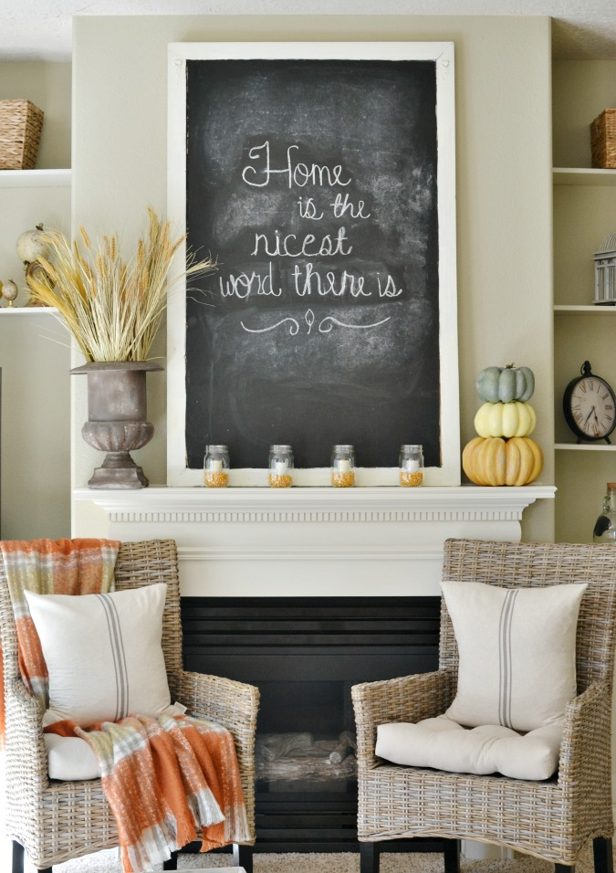 Fall fireplace mantel decorating idea atthepicketfence.com