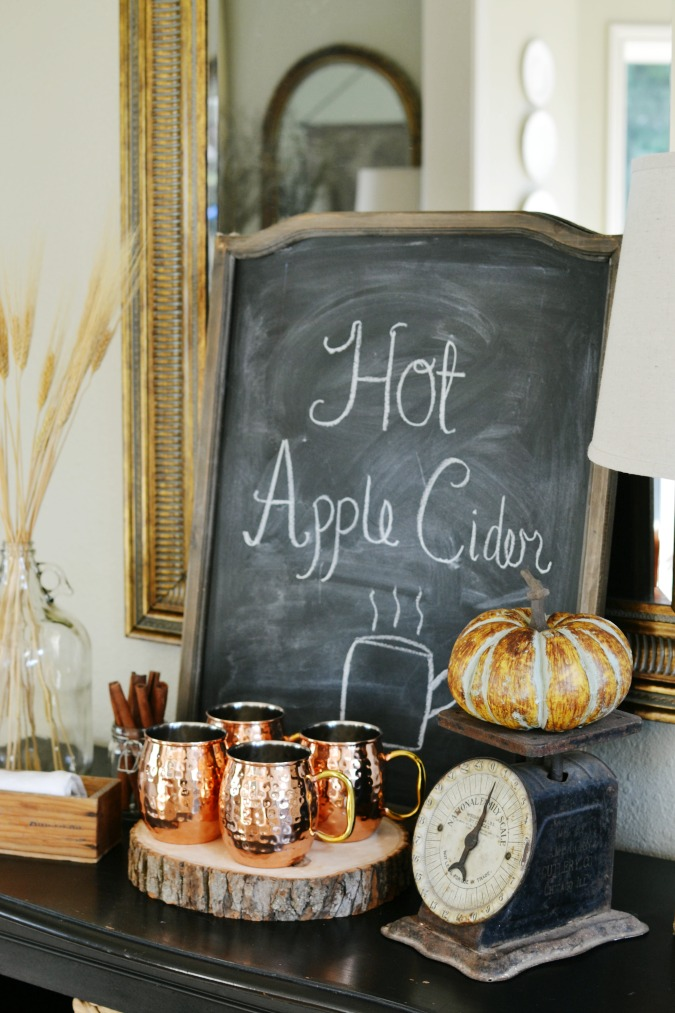 Hot Apple Cider Station for fall atthepicketfence.com