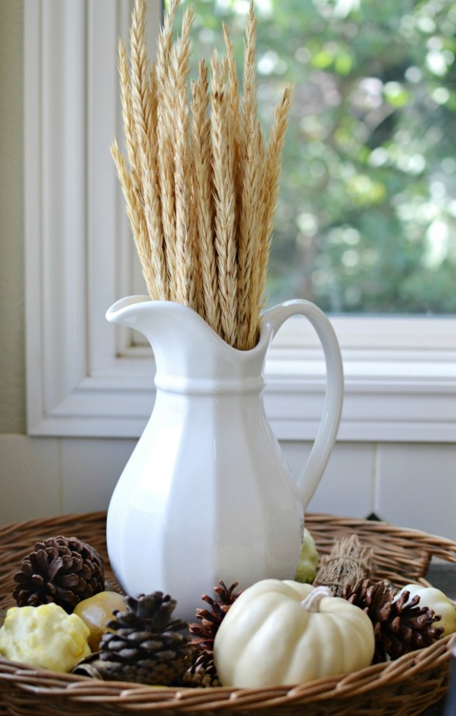 Wheat in a white pitcher