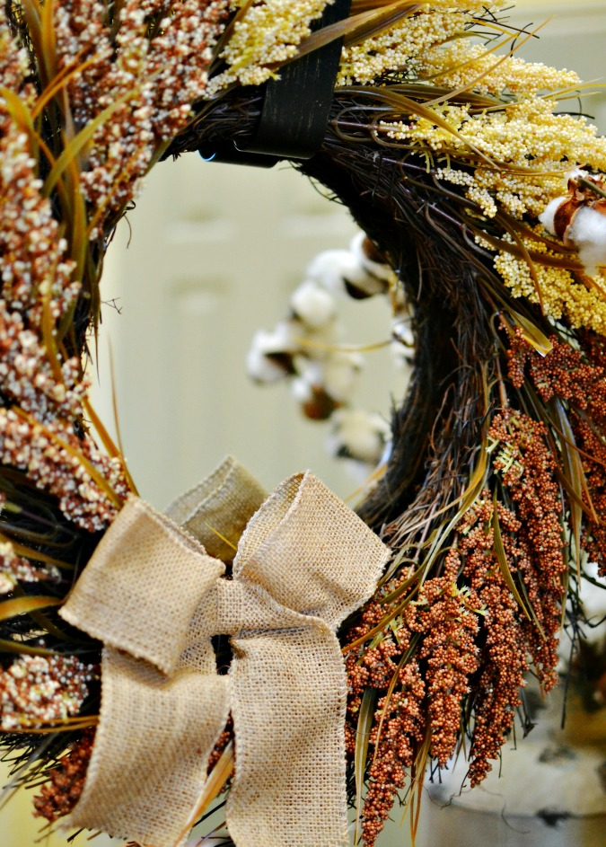 Wheat wreath with burlap bow