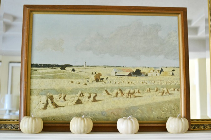 white pumpkins and french country painting