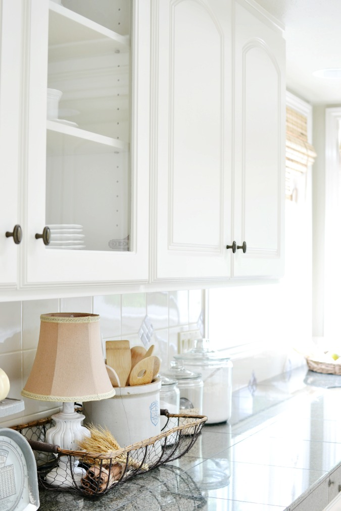 French country farmhouse kitchen countertop decor atthepicketfence.com