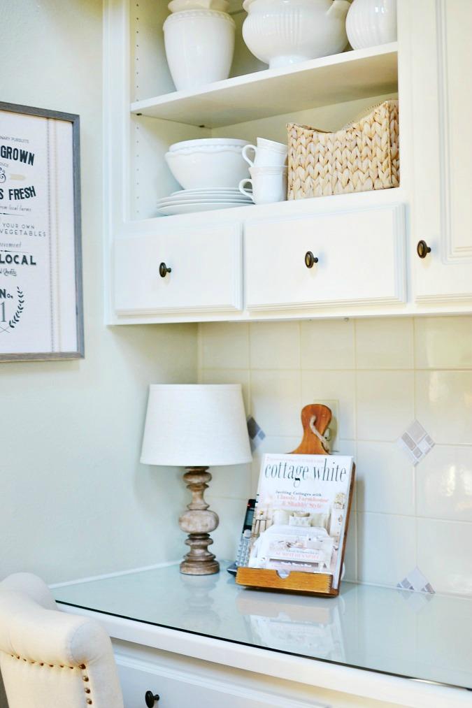 Kitchen desk with open shelves