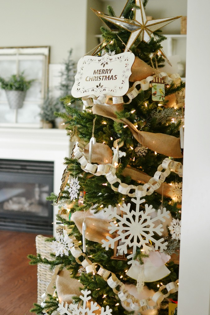 Christmas tree with wood signs as ornaments