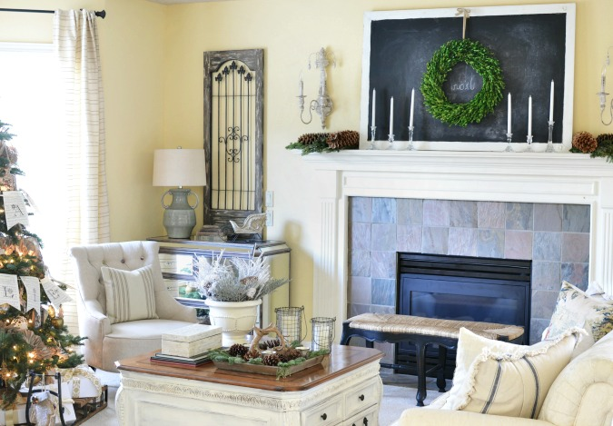 French country style Christmas living room