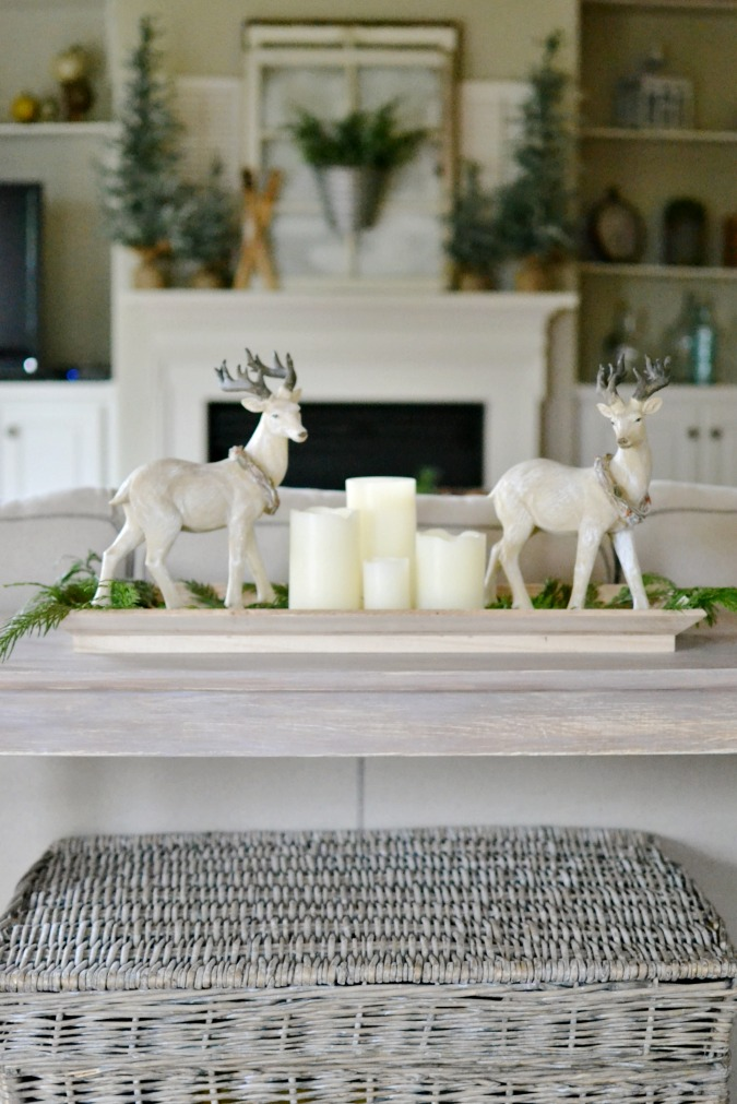 Sofa table Christmas decor atthepicketfence.com