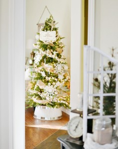 White half barrel tree stand with narrow Christmas tree atthepicketfence.com