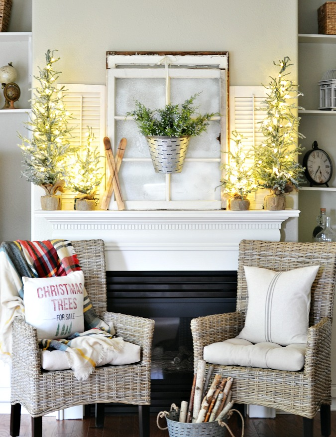 Winter cabin themed Christmas mantel decor
