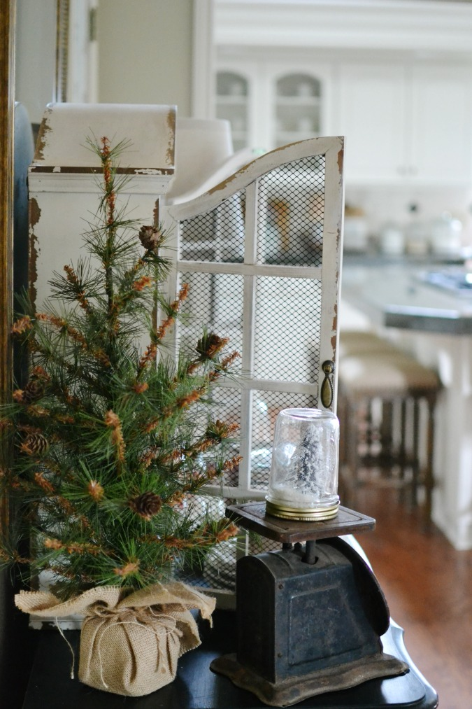 Winter vintage tabletop decor