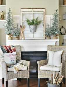 Winter woodland themed Christmas mantel decor atthepicketfence.com