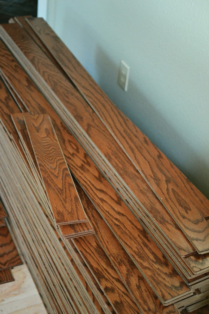 stack of shaw wood flooring