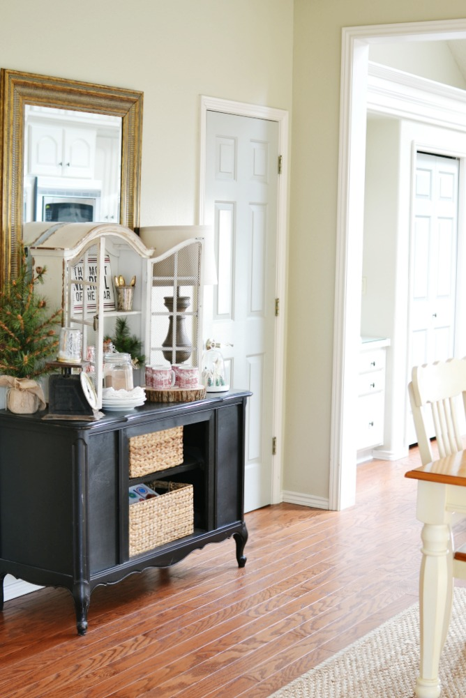 Black buffet table in breakfast nook