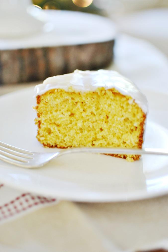 Slice of eggnog cake