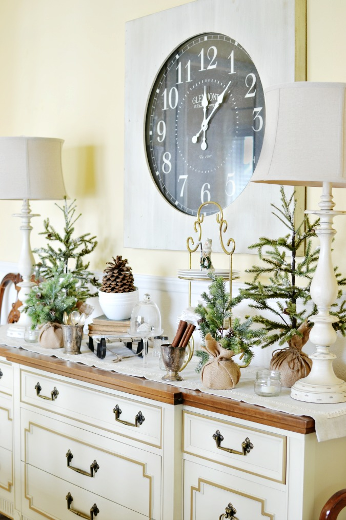 Winter buffet table in the dining room at the picket fence winter buffet table decor atthepicketfence watchthetrailerfo