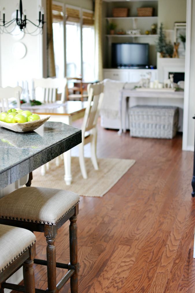Wood floors in kitchen breakfast room and family room