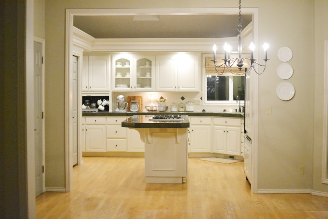 kitchen with light wood floors