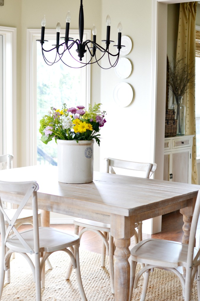 Farmhouse style dining table and chairs atthepicketfence.com